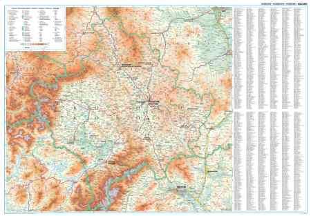 Koszovó domborzati falitérkép - GiziMap