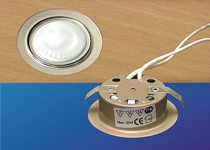 Halogén bútorlámpa 12V, fix üveggel,